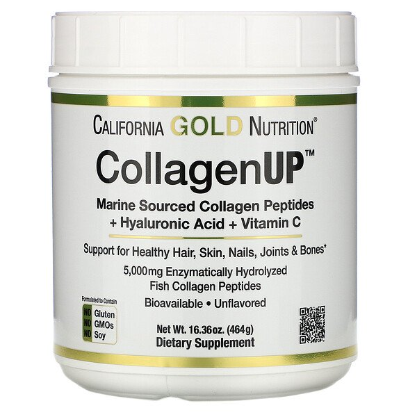 California Gold Nutrition, CollagenUP, marines Kollagen + Hyaluronsäure + VitaminC, geschmacksneutral, 464g (16,36oz.)