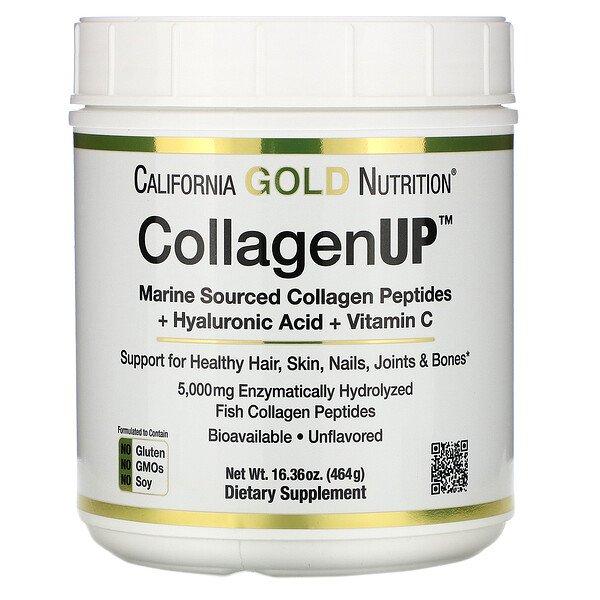 California Gold Nutrition, CollagenUP, морской коллаген, гиалуроновая кислота и витаминC, без вкусовых добавок, 464г (16,36унции)