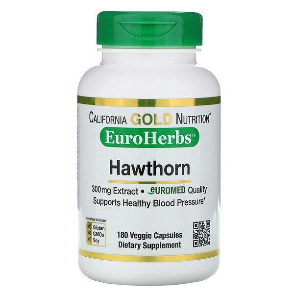 California Gold Nutrition, Экстракт боярышника, EuroHerbs, европейское качество, 300мг, 180 растительных капсул