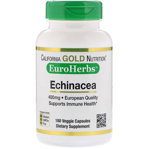 California Gold Nutrition, Эхинацея, EuroHerbs, цельный порошок, 400мг, 180 растительных капсул