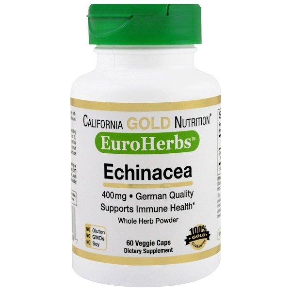 California Gold Nutrition, Эхинацея, EuroHerbs, порошок, 400мг, 60растительных капсул