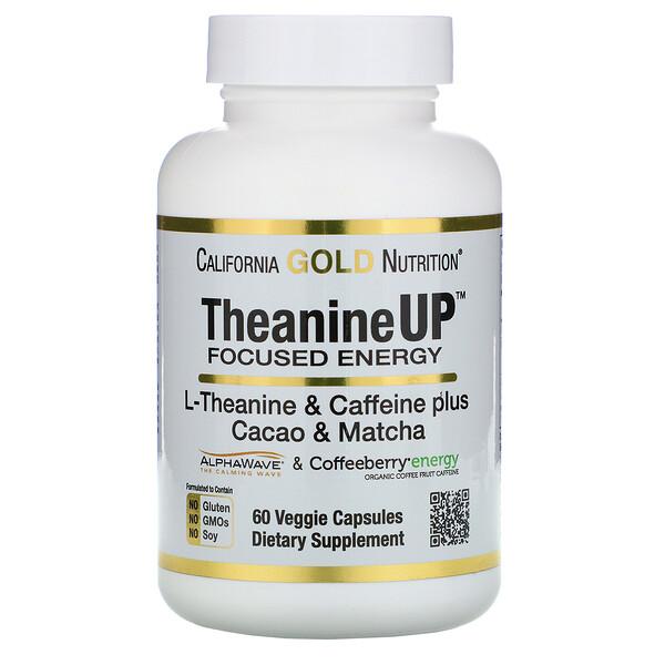 California Gold Nutrition, TheanineUP, концентрация и энергия, L-теанин и кофеин, 60 вегетарианских капсул