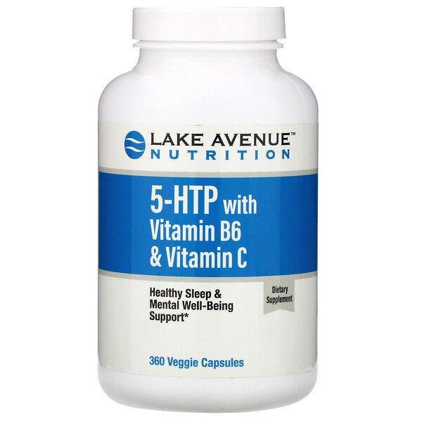 Lake Avenue Nutrition, 5-гидрокситриптофан с витаминомB6 и витаминомC, 360растительных капсул