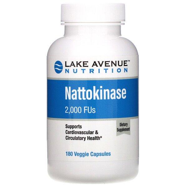 Lake Avenue Nutrition, Наттокиназа, протеолитический фермент, 2000FU, 180растительных капсул